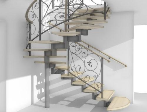 Визуализация винтовой модульной лестницы в г. Белгороде