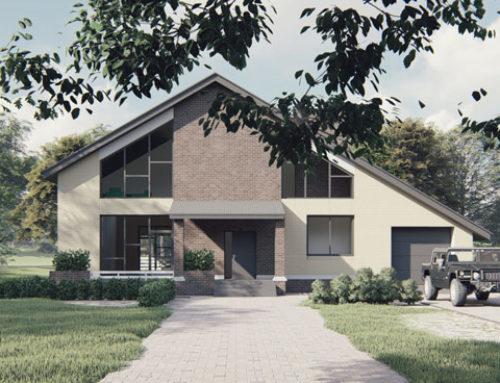 """К55-2Э-335 """"Проект двухэтажного мансардного дома с гаражом"""""""